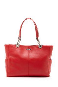 Calvin Klein Key Item Leather Hinge Tote Bag