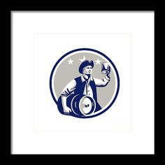 American Patriot Carry Beer Keg Circle Retro Framed Print by Aloysius Patrimonio.   Illustration of an American Patriot holding a beer mug toasting while carrying beer keg set inside circle with stars in the background done in retro style. #illustration #AmericanPatriotCarryBeer
