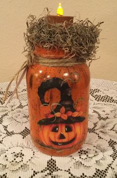 Fall Mason Jar Upcycled Holiday Halloween by CraftsByJoyice Pot Mason, Fall Mason Jars, Mason Jar Diy, Mason Jar Pumpkin, Halloween Mason Jars, Mason Jar Projects, Mason Jar Crafts, Diy Projects, Halloween Kostüm