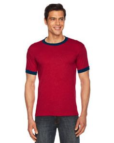 American Apparel Unisex Poly-Cotton Short-Sleeve Ringer T-Shirt BB410 HEATHER RED/NAVY