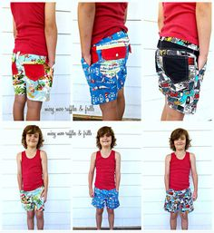 Pattern Emporium Easy fit. Easy to sew. The BUSY BOYS EVERYDAY SHORTS PATTERN with easy elastic pull on waist. __________  SIZE RANGE: It covers size 2*-14 *not