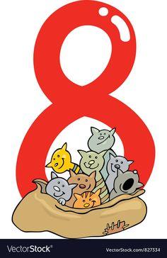 Number eight Royalty Free Vector Image - VectorStock , Cute Elephant Cartoon, Baby Cartoon, Vegetable Cartoon, Happy Monster, Fruit Cartoon, Cartoon Chicken, Birthday Cartoon, Gift Vector, Letters For Kids