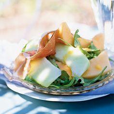 Prosciutto and Melon Salad with Cantaloupe Vinaigrette~