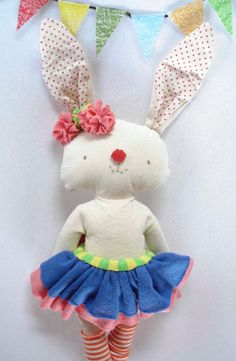 Stuffed Bunny softie Circus time bunny toy Bunny by Ferita