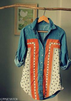 DIY Vintage Scarf Shirt over a denim shirt for a new look. Scarf Shirt, Diy Shirt, Scarf Top, Shirt Refashion, Clothes Refashion, Thrift Store Refashion, Old Clothes, Sewing Clothes, Up Cycle Clothes