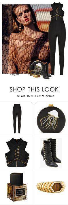"""""""Black elegance..."""" by katelyn999 ❤ liked on Polyvore featuring Balmain, Edie Parker, Yves Saint Laurent and Mauboussin"""
