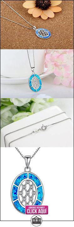 Arco Iris Jewelry Colgante de collar de la mujer de plata de ley con azul y verde ópalo de fuego y circonio cúbico, oval, cadena de veneciana, 46cm  ✿ Joyas para mujer - Las mejores ofertas ✿ ▬► Ver oferta: http://comprar.io/goto/B01CE8Q16W