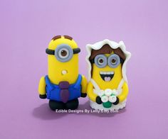 Minion wedding couple   A dorable    Cakes   Highly Decorated Cake     Minion Inspired Wedding Cake Topper by EdibleDesignsByLetty