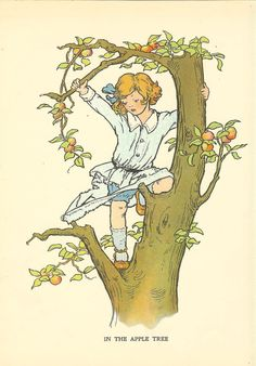 Vintage 1927 Children's Print Young Child Climbing Apple Tree Tears Blue Spotted Shirt Girl Red Hair Book Plate Book Illustration by printsandpastimes on Etsy Painted Trunk, Sitting In A Tree, Children's Book Illustration, Book Illustrations, Red Cat, Conte, Baby Prints, Tree Art, Vintage Children