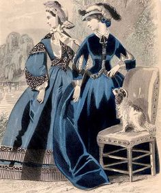"""VICTORIAN RIDING HABIT, 1862: Riding habit of blue cashmere. The skirt is 3/8 longer than an ordinary dress skirt. The body is made with a """"Hungarian"""" basque. The sleeves are close to the wrist, but slashed about the middle of the arm, showing a white undersleeve. Straw hat, trimmed with white and black plumes"""