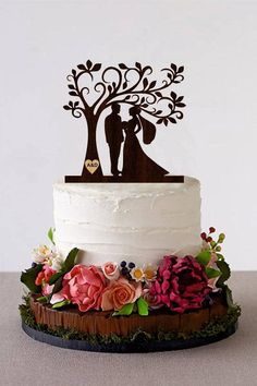 Tree Wedding Cake Topper Personalized Monogram Cake Topper Wooden Rustic Cake Silhouette Cake Topper topper Wooden cake topper will embellish your wedding cake and will make your special day unforgettable. It will serve as a perfect decoration not depending on the wedding style you
