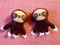 Mini felt sloths. Twins!