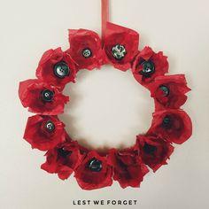 Anzac Day Easy Kids Craft, Anzac Day, Anzac Paper Poppy Wreath.