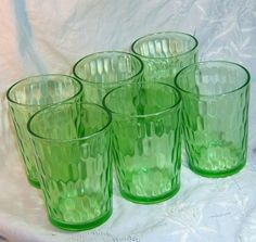 6 green depression glass tumblers