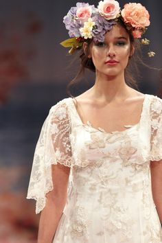 The hair flowers! Gorgeous!    Claire Pettibone 'An Earthly Paradise' Collection 2013 FASHION SHOW