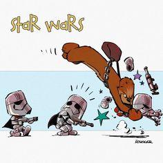 Chewie's ambush (Calvin and Hobbes and Star Wars mashup) - by Brian Kesinger