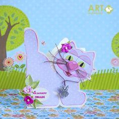 Cat shaped birthday card - Scrapbook.com - Adorable cat-shaped birthday card. Love the heart as a nose!