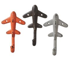 Orange Brown and White Airplanes Single Wall Hooks Cast Iron Set of 3 – DecorHouseStore