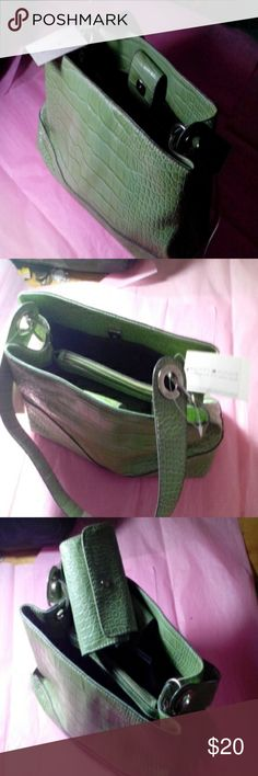 "Light green new purse 7"" high, 12"" long, wallet Purse and wallet Tommy Hilfiger, nwt, light green, croc like, just the right size, not too small, not too big Tommy Hilfiger Bags"