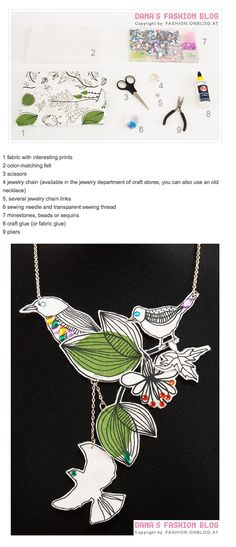 diy necklace - fabric-birds
