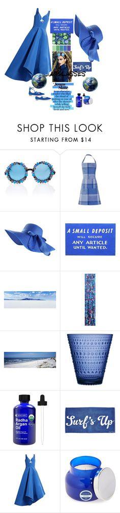 """Blue Style"" by aletererenier ❤ liked on Polyvore featuring Jennifer Lopez, A-Morir by Kerin Rose, NOVICA, iittala, Rosie Assoulin, Capri Blue and Aquazzura"