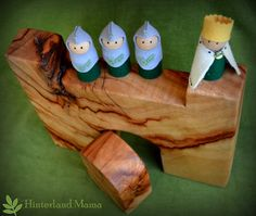 Wooden Castle with King & Knight dolls - Wood and Wool felt Playset - Instead of TV - Made with Love in Australia