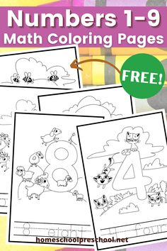 These preschool math coloring pages provide preschoolers with an opportunity to practice number recognition and counting 1-9. Preschool Math, Preschool Printables, Number Recognition, Preschool Coloring Pages, Coloring Pages For Kids, Hands On Activities, Educational Activities, Parenting Advice, Homeschool