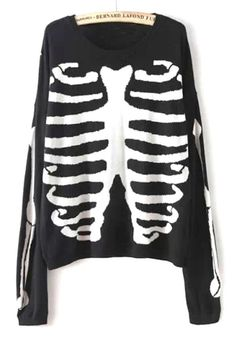 Edgy Skeleton Print Sweater