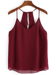 Dotfashion New Arrival Summer Style 2016 Women Sexy Cami Tops Casual Burgundy Spaghetti Strap V Neck Chiffon Camisole Chiffon Cami Tops, Chiffon Shirt, Sleeveless Blouse, Red Chiffon, Halter Tops, Mode Outfits, Crop Tops, Tank Tops, Blue Tops