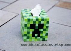 Minecraft Creeper Perler Tissue Box.