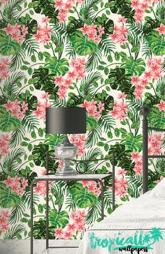 Monstera Palm Wallpaper - Removable Wallpapers - Floral Monstera Wallpaper - Self Adhesive Wall Decal - Temporary Peel and Stick Wall Art Palm Wallpaper, How To Hang Wallpaper, Wallpaper Panels, Peel And Stick Wallpaper, Stick Wall Art, Cement Walls, Traditional Wallpaper, Wall Spaces, Wall Decals
