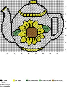 SUNFLOWER TEAPOT by GrannyS Designs -- WALL HANGING