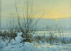 Zimowy zmierzch w Marzęcinie | Wojciech Górecki Snow, Winter, Painting, Outdoor, Winter Time, Outdoors, Painting Art, Paintings, Painted Canvas