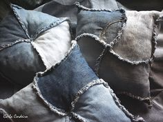 VISIT FOR MORE ragged pillows accompany the quilt jeans (Carla Cordeiro) Tags: jeans denim patchwork recycling tessellation cushion applecore ragged technical curve sustainability reuse upcycling cust Diy Jeans, Jeans Denim, Jean Crafts, Denim Crafts, Jean Diy, Denim Ideas, Patchwork Jeans, Upcycle, Quilts