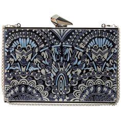 KOTUR Empire Merrick Clutch (18.810 CZK) ❤ liked on Polyvore featuring bags, handbags, clutches, purses, bolsas, blue hand bag, man bag, special occasion handbags, evening clutches and aztec handbag