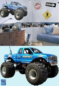 Logan's room.. Bigfoot Monster Truck Prepasted Wall Mural - Wall Sticker Outlet