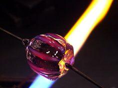 Making Rings Off Mandrel - Lampwork Etc. clear red core, dicroic, intense black stringer, heavy clear encase, cobalt over white filligrana lines, light clear encase, melt twist pull