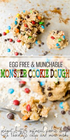 Egg Free Monster Cookie Dough is a safe to eat cookie dough with all of the classic Monster Cookie flavors; peanut butter, oats, chocolate chips and mini mm's. This dough is made just for eating, not baking! Edible Sugar Cookie Dough, Cookie Dough For One, Paleo Cookie Dough, Monster Cookie Dough, Edible Cookies, Cookie Dough Recipes, Cookie Flavors, Oatmeal Chocolate Chip Cookies, Best Cookie Recipes