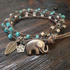"Elephant Turquoise & Leather Multi Wrap 'Boho Chic"" Rustic Silver $40.00"