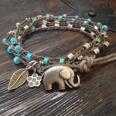 "Elephant Turquoise & Leather Multi Wrap 'Boho Chic""  Rustic Silver"