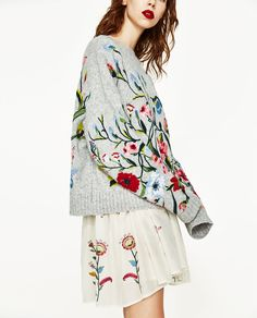 Image 3 of SWEATER WITH EMBROIDERED FLOWERS from Zara