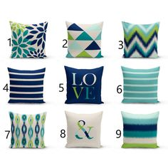 Throw Pillow Covers Navy Teal Aqua Beige Green Home Decor Mix and... ($19) ❤ liked on Polyvore featuring home, home decor, throw pillows, decorative pillows, grey, home & living, home décor, teal accent pillows, gray throw pillows and ivory throw pillows