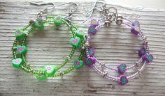 Hoop Earrings Bright Green Soft Mauve by KidsAtHeartBeadShop
