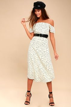 be2426136827 Sweeter Than You Cream Polka Dot Off-the-Shoulder Midi Dress
