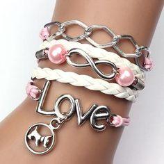 Dog Love Pearl Leather Charm Alloy Bracelet – MyInPat
