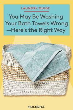 You May Be Washing Your Dingy Bath Towels All Wrong—Here's the Right Way | Here's how to wash bath towels the right way, so they are truly clean and soft. Plus, other laundry hacks and smart laundry solutions for musty odors and dingy-looking towels. #organizationtips #realsimple #howtoclean #cleaningtips #cleaninghacks Clean Bath Towels, Washing Towels, House Cleaning Tips, Spring Cleaning, Bathroom Cleaning Hacks, Deep Cleaning, Laundry Solutions, Laundry Hacks, Homemade Cleaning Supplies