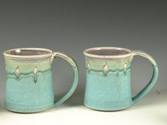 A Pair of Large Turquoise Mug 20oz  Perfect for by Hodakapottery