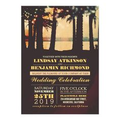 "Romantic seaside sunset beach wedding invitation with colorful string lights hanging on the palm trees. Modern yet vintage - old fashioned - retro invite for beach or destination wedding theme. ----If you push CUSTOMIZE IT button you will be able to change the font style, color, size, move it etc. it will give you more options! Contact me if you need more matching items or have a custom color request. <div style=""text-align:center;line-height:150%""> <a…"