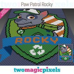 Paw Patrol Rocky crochet graph (C2C, Mini by TwoMagicPixels on Zibbet Graph Crochet, C2c Crochet, Crochet Blanket Patterns, Baby Blanket Crochet, Paw Patrol Rocky, Pixel Pattern, Bobble Stitch, Perler Bead Art, Yarn Colors