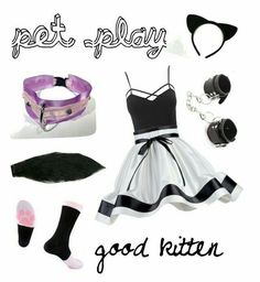 A fashion look from April 2016 by anthropolyvist featuring Charlotte Russe Litecraft kitten bdsm and petplay Ddlg Outfits, Sexy Outfits, Cool Outfits, Fashion Outfits, Kawaii Fashion, Cute Fashion, Daddy Kitten, Ddlg Little, Pastel Goth Outfits